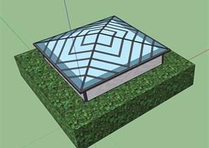 某现代玻璃采光井素材SU(草图大师)模型