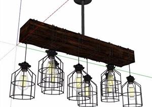 4款工业风格吊灯素材SU(草图大师)模型