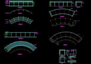 弧形木制长廊架设计图纸
