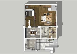 现代两室两厅室内设计SU(草图大师)模型