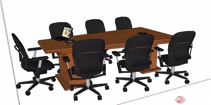 现代风格梯形会议桌椅素材su模型