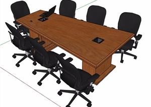 现代风格梯形会议桌椅素材SU(草图大师)模型