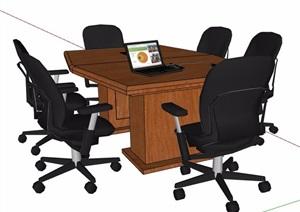 六人座会议桌椅素材SU(草图大师)模型
