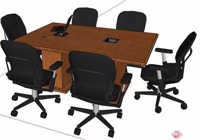 六人座矩形会议桌椅素材su模型