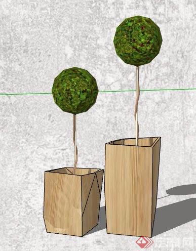5款绿化景观植物盆栽素材su模型