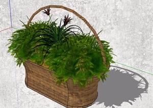 4款小型花盆盆栽植物SU(草图大师)模型