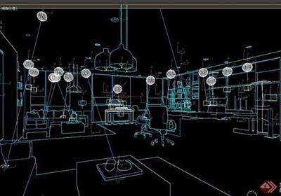 现代详细的办公室内装饰3d模型