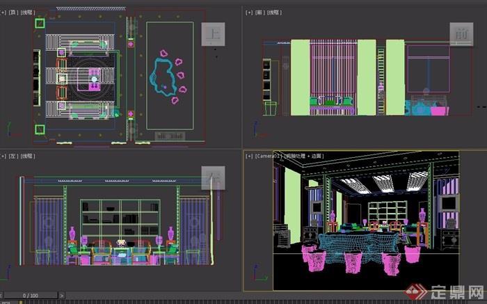某完整的办公室装饰完整3d模型
