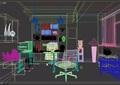 某完整的办公室装饰3d模型