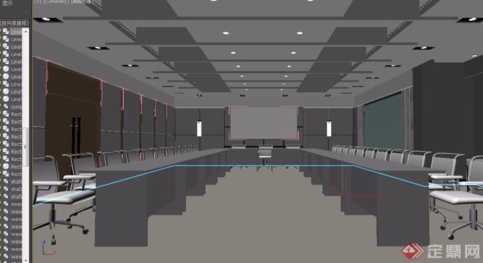 某会议室办公空间3d模型