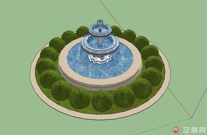 园林景观欧式圆形水钵水池设计su模型