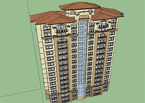欧式详细的完整小高层住宅楼设计SU(草图大师)模型