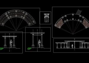 园林景观弧形廊架素材cad方案