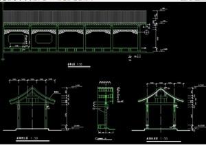 古典中式详细长廊架设计cad施工图