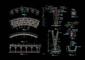 现代详细的景观长廊架cad施工图