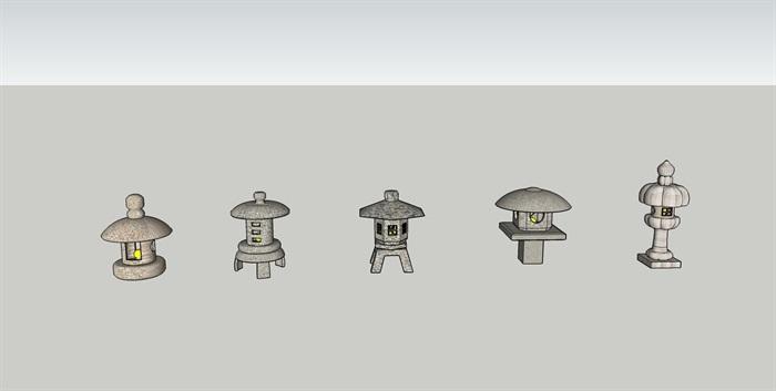 日式石灯笼SU模型(1)