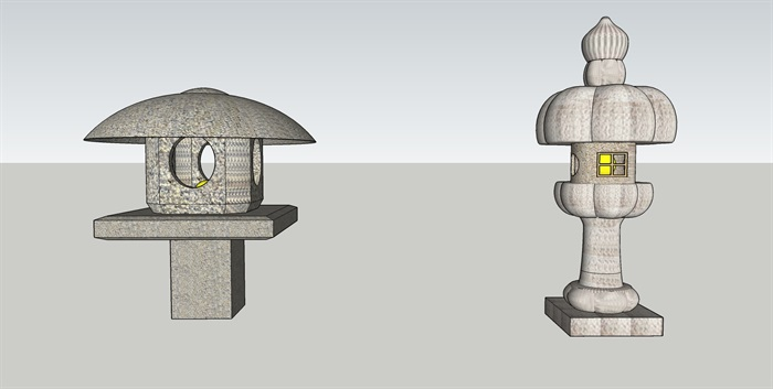 日式石灯笼SU模型(2)