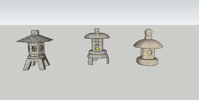 日式石灯笼SU模型(3)