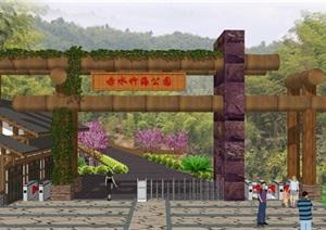 贵州竹海景区入口大门模型