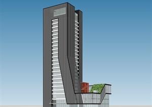 现代简约办公大楼高层办公楼酒店SU(草图大师)su模型skp