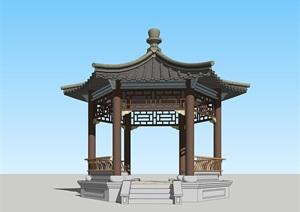 精品古典中式六角亭北方古建建筑SU(草图大师)su模型skp