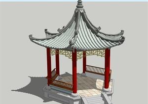 精品古典中式六角亭2古建建筑SU(草图大师)su模型skp