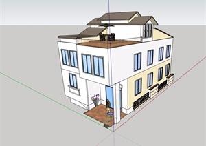 现代民居两层半住宅楼SU(草图大师)模型