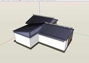 中式单层茶楼建筑SU(草图大师)模型