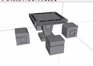 中式详细的石桌凳素材设计SU(草图大师)模型