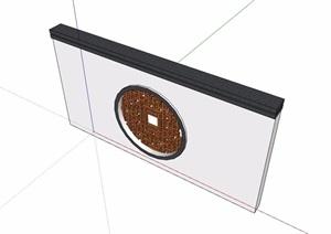 中式简单的景观墙素材SU(草图大师)模型