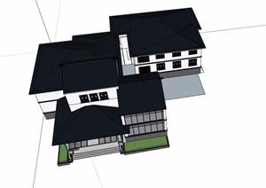 中式详细的三层会所建筑楼设计SU(草图大师)模型