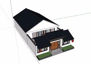 中式合院单层民居住宅楼SU(草图大师)模型