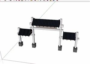 中式详细的大门素材SU(草图大师)模型