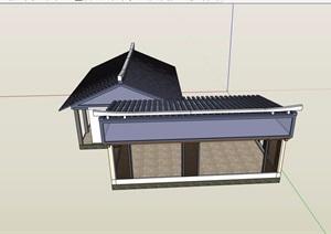 单层中式风格茶室建筑素材SU(草图大师)模型