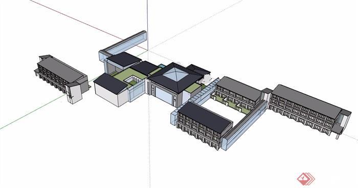 中式多层详细的酒店会所建筑su模型