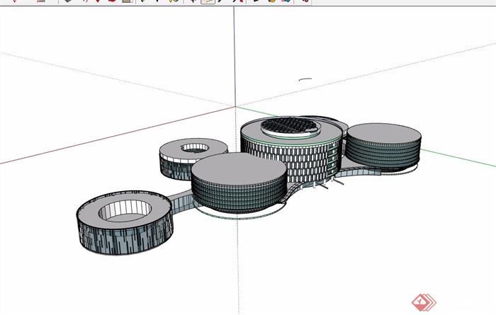 现代独特详细的经典建筑su模型