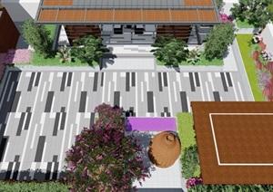 屋顶花园的效果图,包含植物铺装
