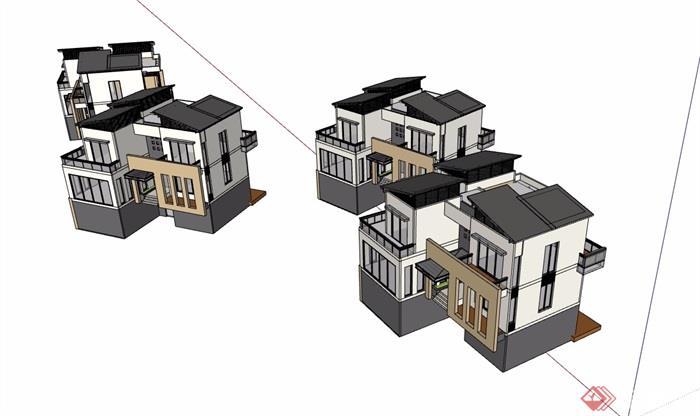 三层现代详细的别墅住宅建筑楼su模型