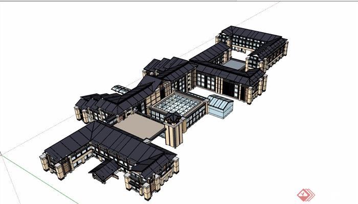 多层详细的中式酒店设计su模型