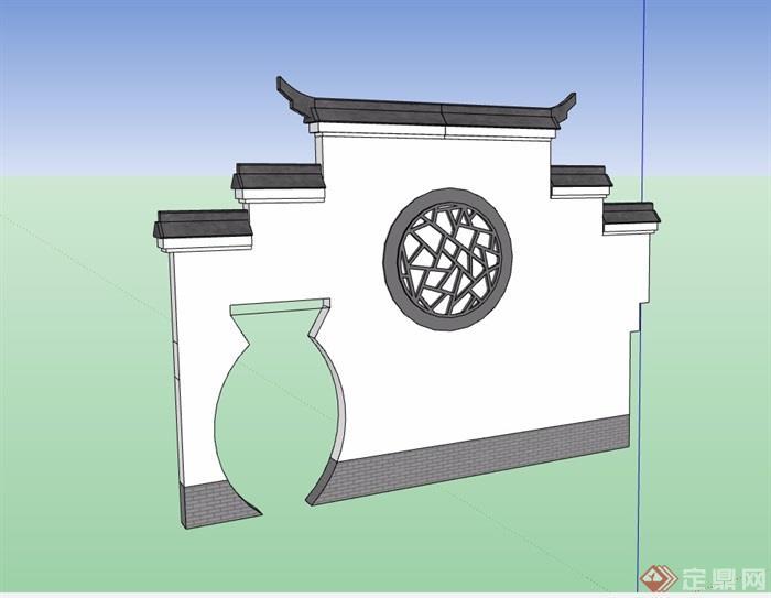 徽派中式详细完整的景墙素材su模型