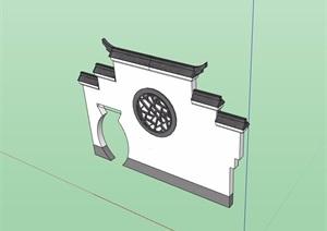 徽派中式详细完整的景墙素材SU(草图大师)模型