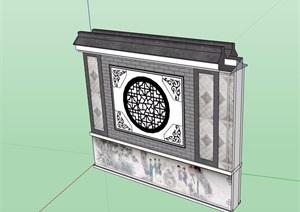 徽派中式景墙详细素材设计SU(草图大师)模型