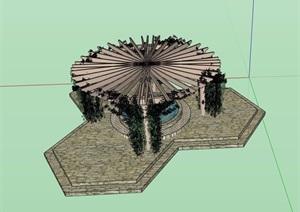 园林景观单臂花架素材SU(草图大师)模型