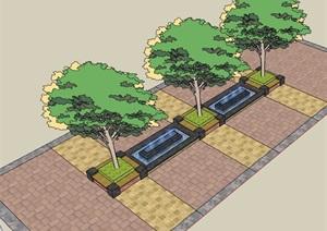园林景观详细的水池树池设计SU(草图大师)模型