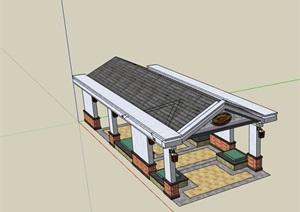 中式详细的休闲长廊设计SU(草图大师)模型
