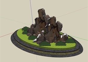 某现代风格椭圆形种植池及景石设计SU(草图大师)模型