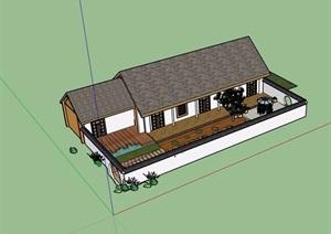 中式详细完整的单层民居住宅楼SU(草图大师)模型