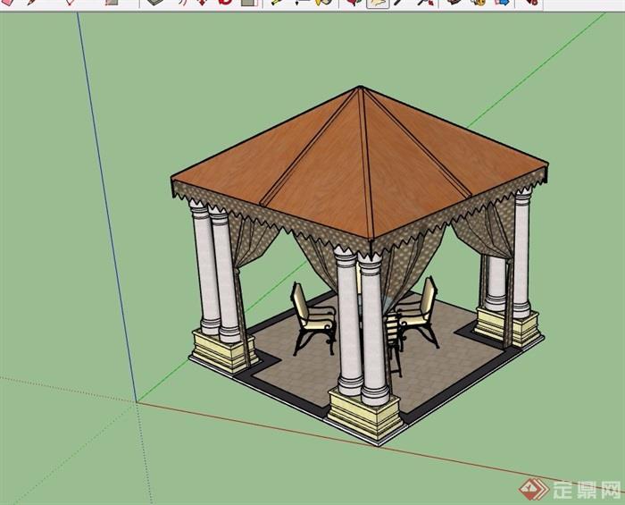 欧式独特详细的亭子素材su模型