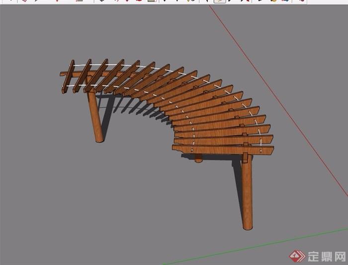 全木质详细完整的廊架素材su模型