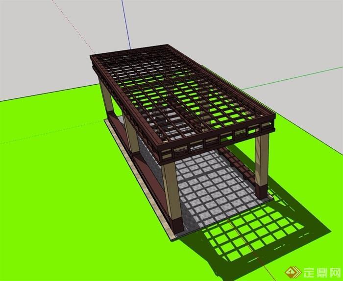 精致详细的园林景观廊架su模型